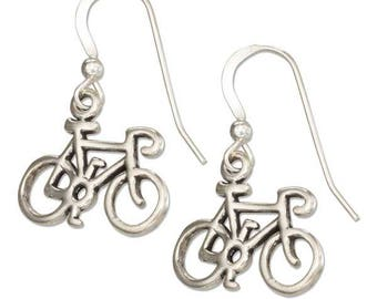 Sterling Silver Bicycle Earrings | Bike Ride Gift, Bicycle Jewelry, Cycling Gift, Spin Class Spinning Jewelry, Fitness Jewelry, Cyclist