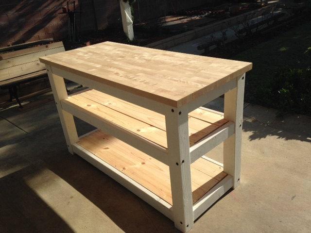 2 full shelves Kitchen Island Butcher block table top in multiple