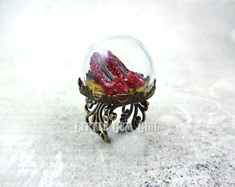 Wizard of Oz Ring - Ruby Red Slippers - Oz Jewelry on the Yellow Brick Road Glass Dome Brass Ring