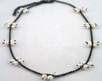 """Foursquare Necklace in Pearl - 18"""" pearl and chain necklace handmade to order in NYC."""