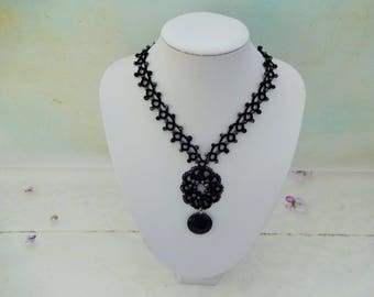 Gotische Spitze, schwarzer Spitzenhalskette, gotische Geschenk für sie, occhi Halskette, viktorianischen Stil Halskette, Perlen Halskette, occhi