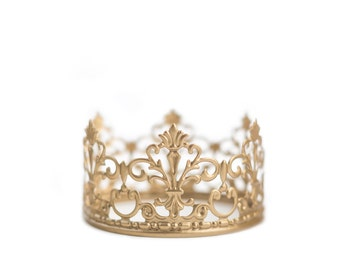 Gold Crown Cake Topper, Wedding Cake, Gold Crown, Mini Crown, Princess Cake, Prince Party