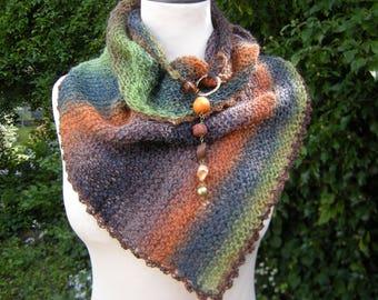 Triangle shawl with beaded mug, triangle shawl, cloth, green orange brown
