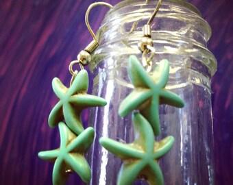 Turquoise Double Starfish Earrings