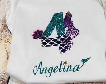 Mermaid birthday shirt/ mermaid shirt/ personalized/ Little Mermaid