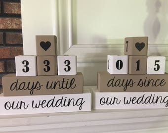 2-sided wedding countdown blocks, engagement gift,countdown to wedding, bride's gift,days until wedding,wedding, countdown block, photo prop