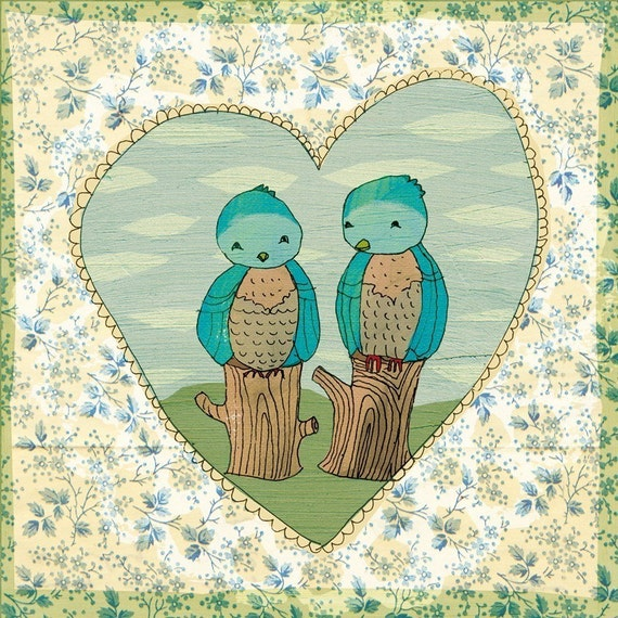 SALE Love Birds art print A4
