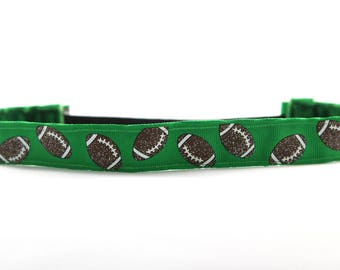 Green Football Headband, Glitter Football Accessory, Packers Inspired Headband, Team Gift, College Football Fan, Game Day Accessory