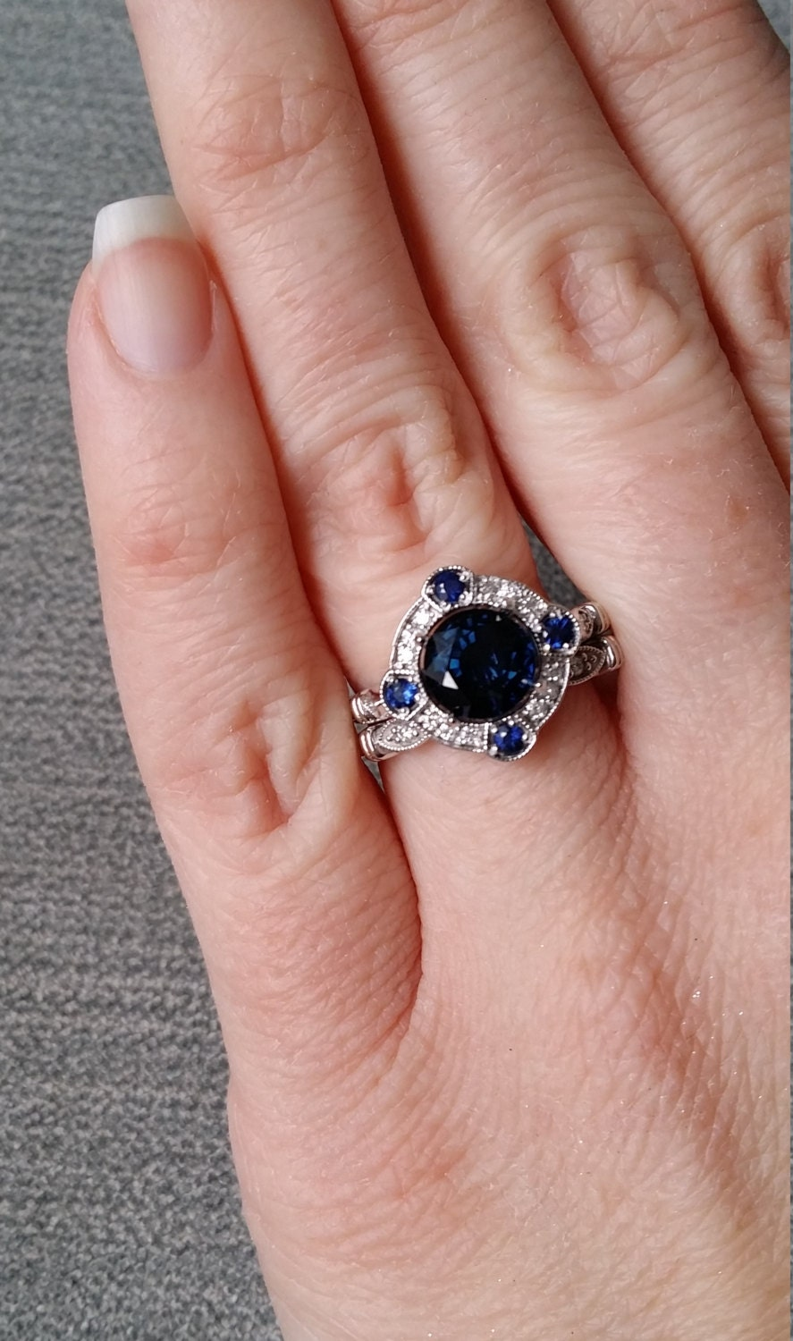 Estate Halo Lab Blue Sapphire Diamond Antique Engagement Ring