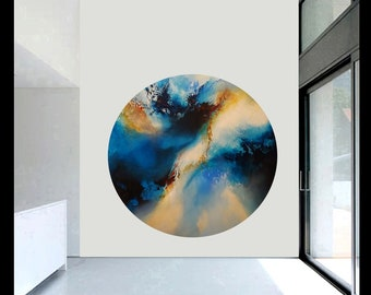 Original abstract painting on unique round canvas by artist Simon Kenny 'Far In The Heavens'