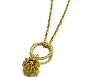 Gold Pendant - 18K Gold Necklace - Diamond Necklace - Seeds Collection - Free Shipping!!!