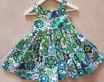 Toddler dress, size 2 tea party dress, cotton dress, green floral dress, gift ideas for kids, toddler clothing, size 2 dress