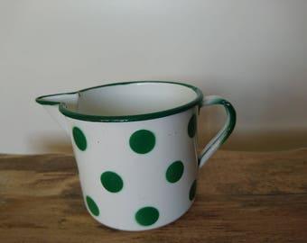 Vintage Enamel Cup, Beige Enamelware, Yugoslavian vintage coffe cup, Polka Dot