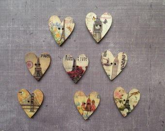 12 wooden buttons heart country city landmark