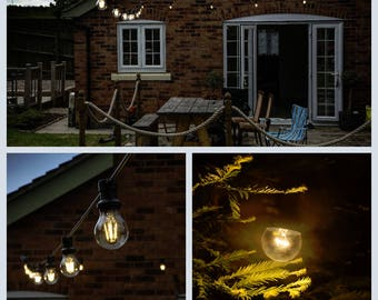 Outdoor lighting etsy indoor outdoor weatherproof festoon lighting 10 metres with e27 bulbs aloadofball Image collections
