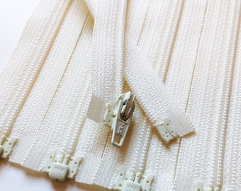Separating Zippers- Off White Vanilla 121- 5 Pieces 3mm Nylon Coil YKK - Available in sizes 6,7,10 and 14 Inch