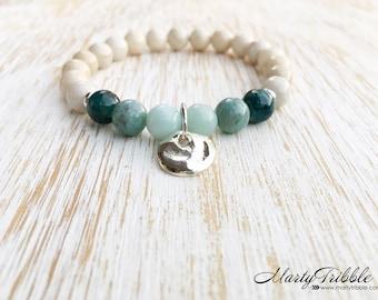 Fine Silver Bracelet, Gemstone Bracelet, Apatite Jade Amazonite Riverstone Bracelet, Boho Bracelet, Beach Jewelry, Healing Crystal Bracelet