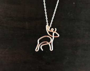 14k Rose Gold Folled/Fine Silver Deer Pendant  Necklace