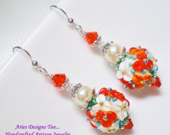 Cream, Red and Turquoise Floral Lampwork Ball Earrings