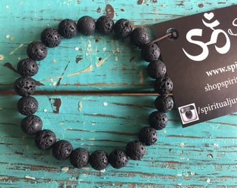 Lava Bead | Essential Oil Diffuser | Spiritual Junkies | Stackable | Mala Bracelet | Yoga + Meditation