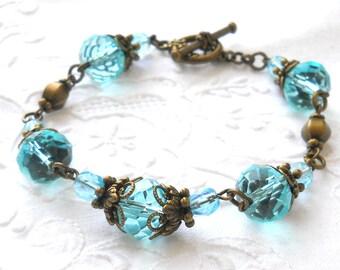 sea blue victorian bracelet turquoise beaded bracelet turquoise jewelry victorian jewelry beaded jewelry