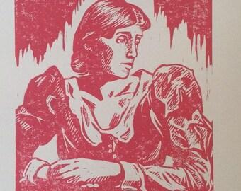Virginia Woolf - Hand-carved, hand-printed art portrait