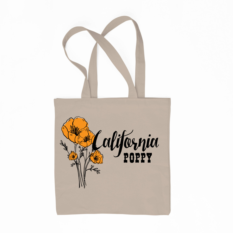California Poppy State Flower 6 Oz Canvas Tote Bag