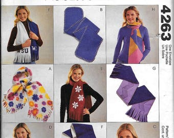McCall's 4263 Misses' Fleece Scarves One Size Sewing Pattern Polar Magic UNCUT