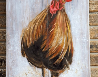 Original Rooster Painting, farmhouse decor, rooster, chicken, rooster art, country decor, gifts for men, gifts for women