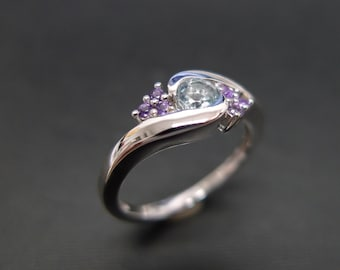 Aquamarine Wedding Ring with Amethyst in 14K White Gold