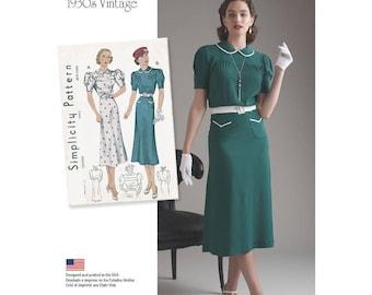8248, Simplicity, Retro 1930's, Vintage Pattern, Misses Dress Peter Pan Collar 30's Day Dress, Sunday Dress Street Dress Afternoon Tea Dress