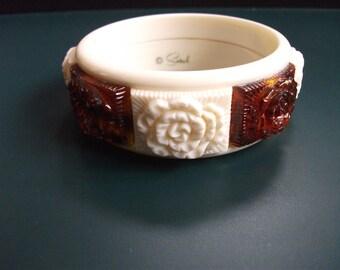 Vintage Sarah Coventry Cream & Amber Floral Chunky Bangle Bracelet