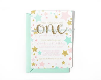 Twinkle little star first birthday invitation, 1st Birthday invite, Mint Pink & Gold party, Baby girl is one invitation, Gold glitter one