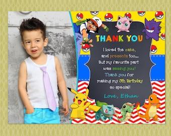 Pokemon Birthday Thank You cards, Thank Yous, Thank You Notes, Pikachu, DIY printable