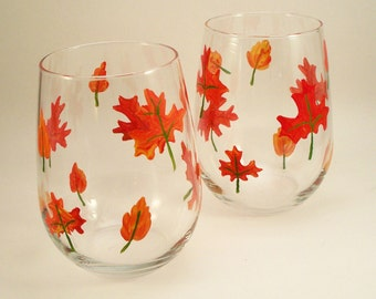 Painted stemless wine glasses, Falling leaves, Autumn glassware, painted glasses, set of 2
