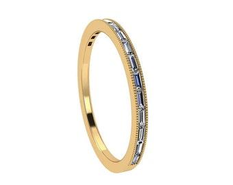 Baguette Diamond Wedding Band, 10k Yellow Gold Ring, Half Eternity Ring For Women