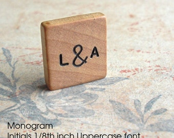 Monogram- Vintage Blank Scrabble Tile. Customize your letters or value. Hand stamped & inked. Awesome wedding gift. Engraved wooden keepsake