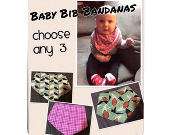 Choose 3 Baby Bib Bandanas