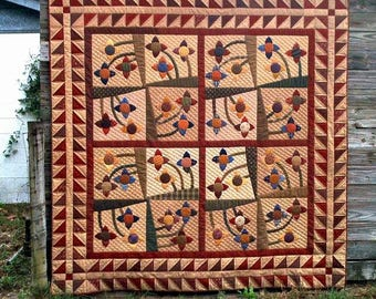 Primitive Quilt Pattern - Ring Around the Posies Quilt Pattern