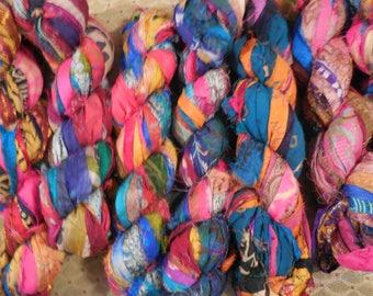 NEW  50 Yards, Wild About Prints,  Sari Silk Ribbon,  Fair Trade from India