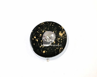 Skull Pill Box Inlaid in Hand Painted Black Enamel with Gold Splash Design Goth Inspired with Personalized Options Available