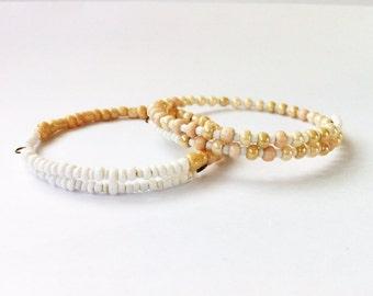 Set of 2 Eco Friendly Minimalist Friendship Bracelets Peach & White