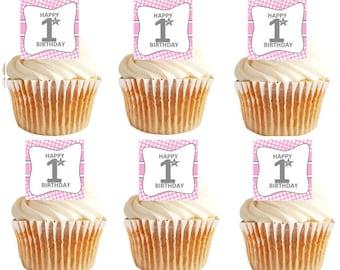 12pk Happy 1st (First) Birthday Mesh Pink Cupcake Decoration Picks