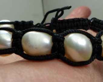 Keshi  Pearl Bracelet-Genuine Keshi Pearls- 18 grms- bracelet adjusts-10X10mm pearls- 1754