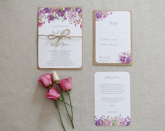 Purple & Lilac Floral Wedding Invitation // Floral Bloom Wedding Invite // Watercolour Print, Purple and Pink Flowers and Foliage - SAMPLE