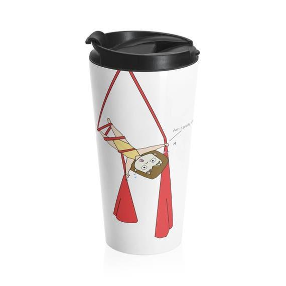 Stainless Steel Travel Mug, aerial silks travel mug, circus mug, acrobat gift, aerialist gift, aerial problems, PocketJo, thermal mug