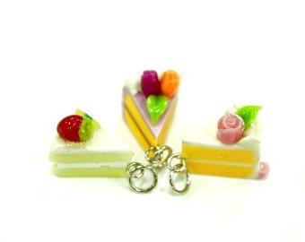 Polymer clay jewelry, Mini cupcake charms, set of 3 pcs.