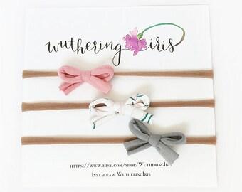 Mini Nylon Bows, Baby Headband Set, Small Bow Headbands, Baby Girl Bows, New Baby Girl Gift