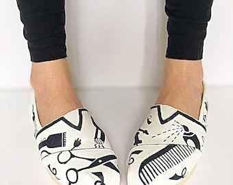 Custom hairstylist TOMS - hair salon gift - hairdresser gift - stylist gift - hand painted shoes - hair school gift - custom toms