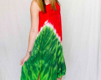 Tie Dye Skirt in Watermelon Red and Green